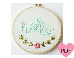 Embroidery Pattern PDF PatternHello Hand par cinderandhoney sur Etsy