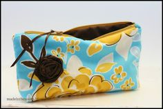 petite zipper bag with brown rosette  Cute Easter gift