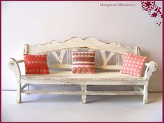 Erzebet's lovely work: White shabby bench with pillows by hungarianminiatures on Etsy