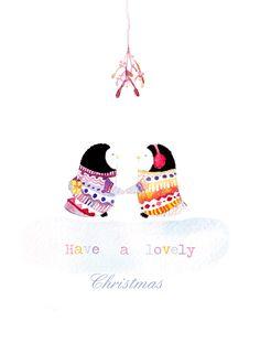 Penguins under the Mistletoe Christmas Card