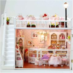 DIY Handcraft Miniature Project Kit Dolls House The Chocolatiers Cafe Shop in Dolls & Bears, Dolls' Miniatures & Houses, Dolls' Houses | eBay