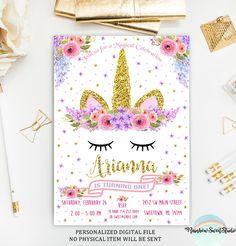 Unicornio invitación cumpleaños para imprimir de 4 X 6 o 5 x 7 archivo DIGITAL ¡Super lindo para un cumpleaños especial! ⬇Please leer la descripción del listado antes de colocar su order⬇ Este listado está para un completamente modificado para requisitos particulares impresión