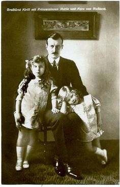 Grand Duke Cyril Vladimirovich with his daughters, Grand Duchesses Maria (left) and Kira (right)