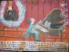 Antique  Mexican  Folk Art Retablo Ex Voto of Piano Man and Virgin de Soledad  on Tin