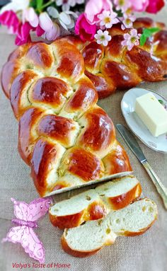 Sweet Bread braided with four strands.  She shows how to do the braiding.  She makes this bread for Easter with raisins, but I could make it whenever I wanted and substitute other things for the raisins, or add spices or icing, etc.