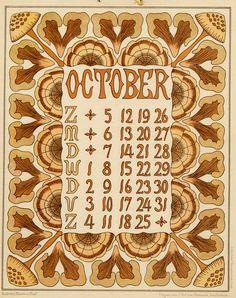 Netty van der Waarden. Kalender Bloem en Blad. October. 1902.