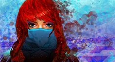 Painting Art Eyes Glance Redhead girl
