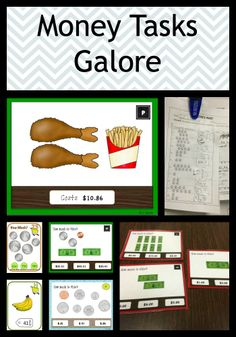 This is a bundle of task cards and worksheets assembles 5 existing money products in my store offered at a reduced price. It would be appropriate for early elementary grades working on understanding the value of money as well as life skills / special education classrooms working on using money. $16