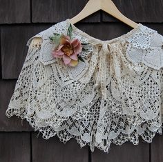 Exquisite, romantic caplet - made by piecing together vintage crochet doilies to create the delicate lacey layers, neck of the caplet is finished with vintage trim, which ties in front. Includes a shabby rose corsage pinned to the caplet. Perfect for a wedding, a special event or feeling feminine - Etsy item by GreenTrunkDesigns - fashion (could be shabby chic)