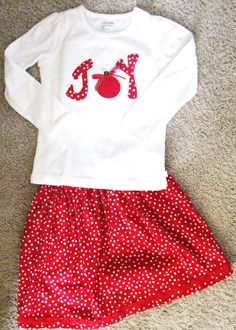 JOY Red and White Christmas shirt and skirt set by BitsyBitDesigns, $40.00