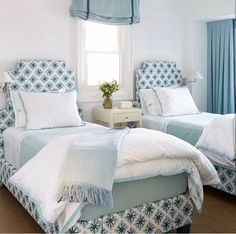 "Luxury and convenience were top of mind in this guest bedroom, so designer Anne Hepfer chose twin beds with built-in storage underneath. ""You want your guests to have an element of surprise,"" she says Cozy Bedroom, Trendy Bedroom, White Bedroom, Girls Bedroom, Bedroom Decor, White Bedding, Bedding Sets, Bedroom Ideas, Blue And Pink Bedroom"
