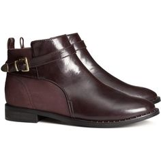 H&M Low boots (1 075 UAH) ❤ liked on Polyvore featuring shoes, boots, ankle booties, chaussures, h&m, burgundy, zipper boots, buckle booties, embellished boots and zip boots