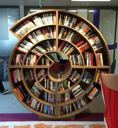 The swirling new bookshelves at Hachette HQ. Take a tour of our offices at our website!
