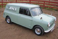 Mini van in BSA livery. Mini Cooper Classic, Classic Mini, Classic Trucks, Classic Cars, Austin Cars, Mini Copper, Van Car, Panel Truck, Morris Minor