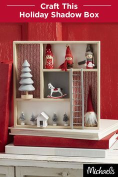 Create a Scandinavian-inspired shadow box scene with Merry Miniatures and patterned scrapbook paper. Get all of the supplies you need for this craft at your local Michaels store.