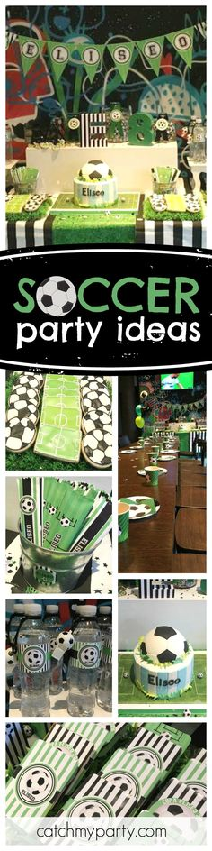 GOAL!!! Check out this awesome Soccer birthday party! Love the dessert table and just look at that birthday cake! See more party ideas and share yours at CatchMyParty.com