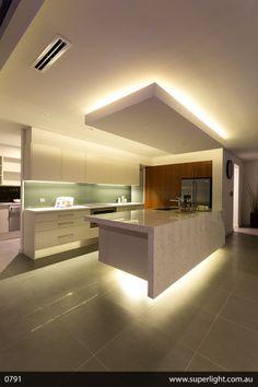 Super Led Strip Lighting Ideas Projects Home 45 Ideas Kitchen Ceiling Design, Kitchen Lighting Design, Bedroom False Ceiling Design, Kitchen Room Design, Luxury Kitchen Design, Luxury Kitchens, Home Decor Kitchen, Modern House Design, Kitchen Interior