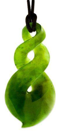 Maori Greenstone Jade Double Friendship Twist Necklace -