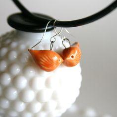 Love Bird Earrings - Handmade Ceramic - Orange Papaya. by Back Bay Pottery