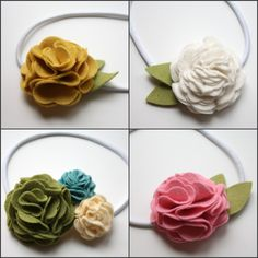 DIY Felt Flowers- for head bands, hair clips and pins