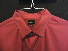 Mani By Giorgio Armani Designer Red Solid Casual Shirt SZ XL Mint Quick Ship  #Mani #ButtonFront