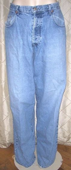 LUCKY BRAND DUNGAREES MENS BAGGY FIT BUTTON FLY LIGHT DENIM BLUE JEANS 38 X 33   #LuckyBrand #BaggyLoose