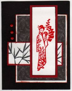 Geisha - black & red by leibetty - Cards and Paper Crafts at Splitcoaststampers inkadinkado asian influences