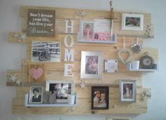 Helemaal zelf gemaakt, met een paar tips van mijn man. Gemaakt van pallethout. Allemaal mooie herinneringen er op gemaakt. Pallet Walls, Pallet Creations, Photo Displays, Nursery Room, Wood Pallets, Photo Wall, Gallery Wall, Collage, Wall Decor