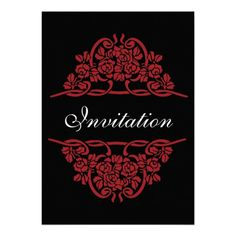 Red, black rose motif with ribbons, white font wedding invitation