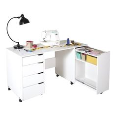 South Shore Crea Rolling Sewing Machine And Craft Table   18104315    Overstock   Big Discounts