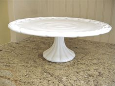 Vintage Cake Stand  Milk Glass Pedestal Plate by Fishlegs on Etsy, $77.00