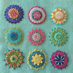 ideas embroidery stitches wool penny rugs for 2019 Hand Embroidery Stitches, Silk Ribbon Embroidery, Crewel Embroidery, Hand Embroidery Designs, Embroidery Techniques, Embroidery Kits, Hand Stitching, Embroidery Needles, Machine Embroidery