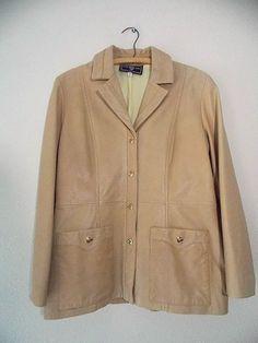 St. John Leather Jacket Size Medium Gold Camel Blazer Marie Gray Coat #StJohn #BasicCoat