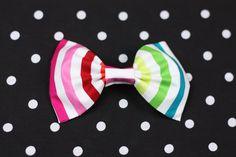 Rainbow Stripe Bow Clip, Hair Clip. £12.00, via Etsy.