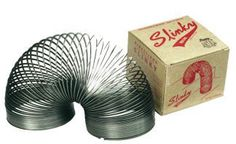 """Original Slinky - I had the original and it was loads of fun thinking up new things to try with it.  Once it got going, it would """"walk"""" right down our sidewalk.  Amazing! 1950s Toys, Retro Toys, 1960s, Childhood Toys, My Childhood Memories, Best Memories, Toy Collector, Popular Toys, Popular Things"""