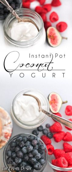 Dairy free and paleo-friendly, how-to make Instant Pot Coconut Yogurt. Thick, rich, and tangy Greek style coconut yogurt. A great recipe for the whole family. http://theprimaldesire.com/instant-pot-coconut-yogurt/: