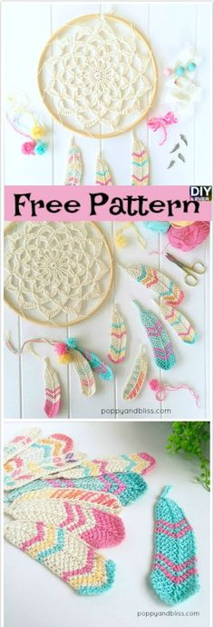 Crochet Tunisian Feathers -Free Pattern #freepattern #crochetpattern #freecrochetpattern #feather