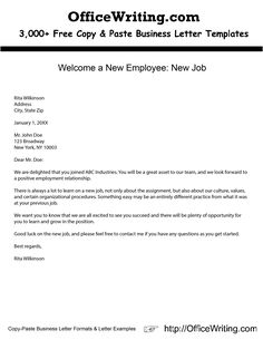 Welcome A New Employee Job We Have Over 3000 Free Sample Letters