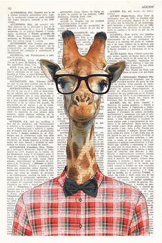 Dictionary Art Print GEEK GIRAFFE, Vintage illustration on antique book paper, giraffe with glasses, Portrait Art, Pet Portraits, Hipster Gifts, Giraffe Art, Dictionary Art, Animal Heads, Antique Books, Belle Photo, Collage Art