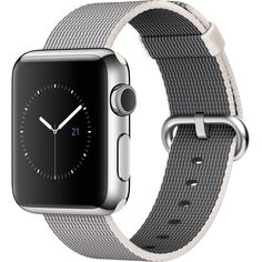 "Apple Watch 38mm Stainless Steel Case with Pearl Woven Nylon Band - MMFH2LL/A. Stainless Steel Chassis, Sapphire Glass 1.3"" 272 x 340 Display. Activity and Heart Rate Monitoring Changeable Faces with Widgets. Siri Integration Displays Notifications and Runs Apps. Taptic Alerts Apple Pay. Bluetooth 4.0, 802.11b/g/n Wi-Fi Apple watchOS 2."