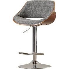 <p>A must-have addition to your midcentury-inspired ensemble, this chic stool is a versatile pick for any space.</p><p>Fusing mod appeal with retro details, it features a sleek chrome metal base with an upholstered and walnut-finished wood saddle seat. The seat is crafted of polyester fabric, then filled with foam for a plush touch. The design also offers up a curved foot rest and side lever to adjust the seat height.</p><p>Try pulling a few up to your ...