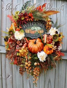 Welcome To Our Home Deluxe Fall Sunflower Wreath, XL Autumn Pumpkin Wreath, Fall Floral Decor, Floral Wreath by IrishGirlsWreaths on Etsy--SOLD! Christmas Mesh Wreaths, Diy Fall Wreath, Autumn Wreaths, Door Wreaths, Ribbon Wreaths, Tulle Wreath, Burlap Wreaths, Prim Christmas, Spring Wreaths