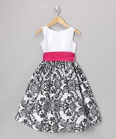 Loving this Fuchsia & Black Damask Velvet Dress - Infant, Toddler & Girls on #zulily! #zulilyfinds