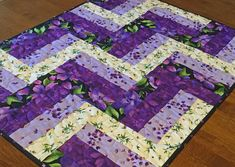 Quilted Purple Table Topper Floral Table Topper Purple White