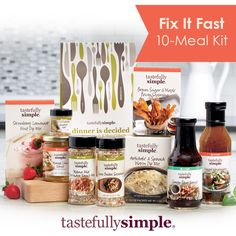 Fix it Fast - 10 Meal Kit  Is time a concern, are you running from school, work, sports?  Check out the Fix it Fast Meal Kit!  Quick and delicious dinners on the table in 30 minutes or less.!!!