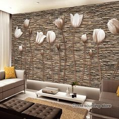 [Visit to Buy] Large Wall Murals Photo Wallpaper Flower for Living Room TV Background Wall Paper Floral papel para pared CustomerAvikalp Pearl tulips Photo wallpaper for walls papel de parede Mural Art Living Room HotelModern Custom Any Size Mural Embosse Living Room Wall Designs, Living Room Tv, Home Room Design, House Design, 3d Wallpaper For Bedroom, Wall Wallpaper, Photo Wallpaper, Wallpaper Designs, Wallpaper Ideas