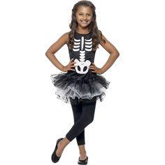 Dit skeletten kostuum voor meisjes bestaat uit een zwart jurkje met skeletprint en een tutu en is gemaakt van polyester. Wasvoorschrift: Handwas.