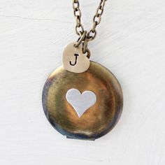 Personalized Heart Locket  Heart Initial Necklace by VivaRevival, $34.00