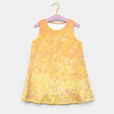 """""""Yellow and orange zentangles"""" Girl's Summer Dress by Savousepate on Live Heroes #kidsapparel #kidsclothing #pattern #graphic #modern #abstract #doodles #zentangles #scrolls #spirals #arabesques #yellow #orange #shiny #hotcolors #fallcolors #autumncolors #ombre"""