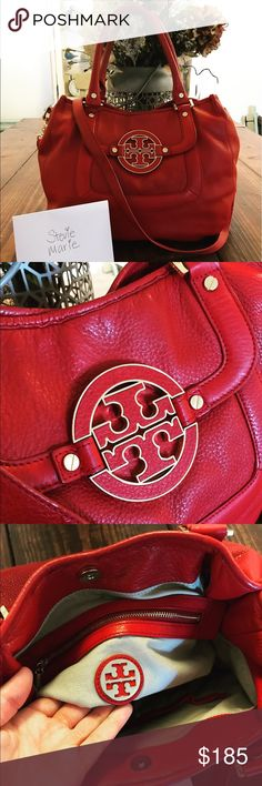 Tory Burch Amanda in Red This price is for 🅿️🅿️ only!! Selling my excellent condition pre-loved Tory Burch Amanda in Red, a very hard color to get your hands on in this style! Got tons of compliments but I'm in a position where I need the funds more ham the bag :( normal light signs of use but nothing major that sticks out or visible I guess I should say. Please see all the photos! Non smoking home and no pets! Tory Burch Bags Shoulder Bags